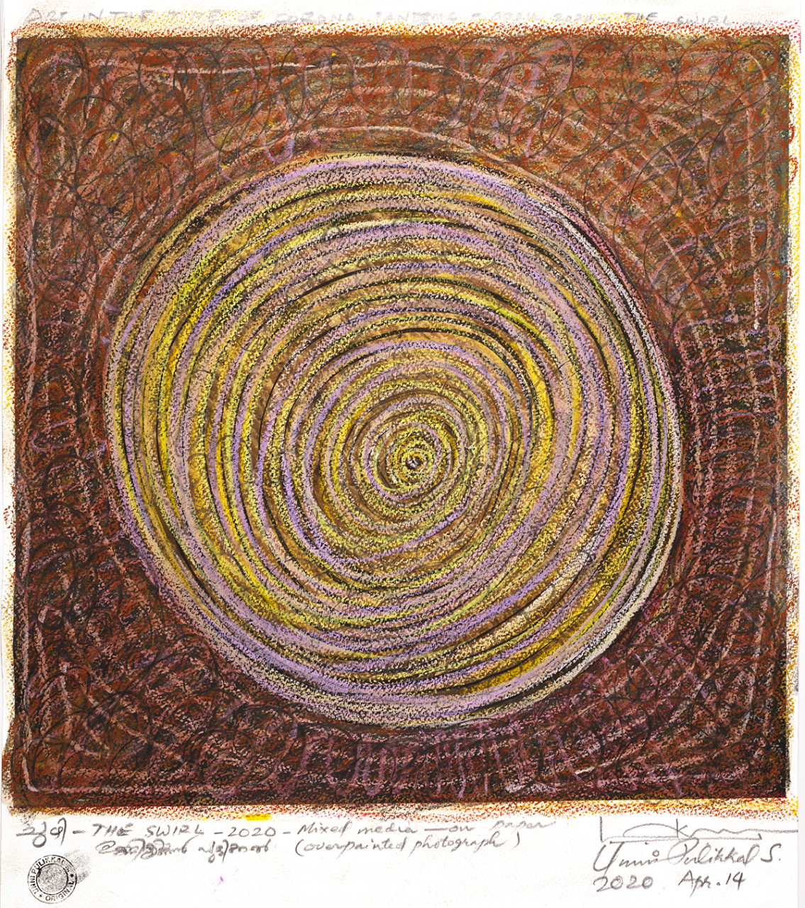 'The Swirl', 2020, Mixed media/over-painted photograph, 16x16 inches, Unique Edn.